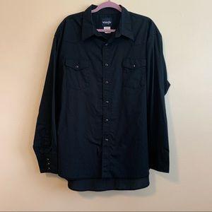 Wrangler Men's Black Western Pearl Snap Shirt XXL